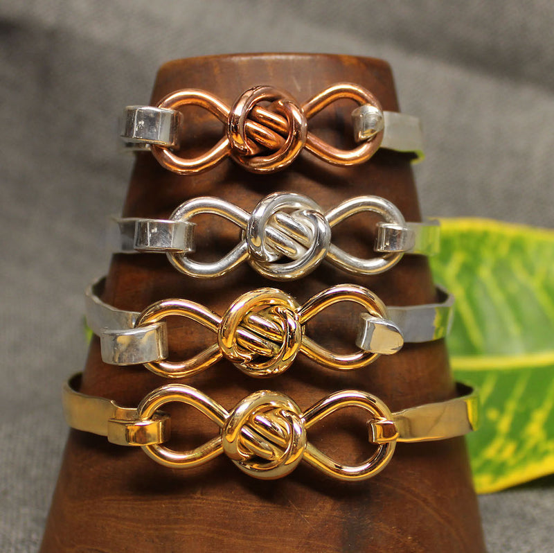 5mm latching bracelet with Crucian knot design available in sterling silver with copper, sterling silver, sterling silver with 14k gold and 14k gold.
