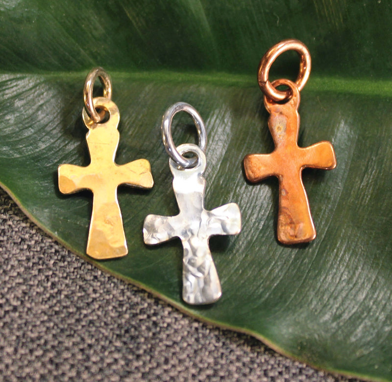 Handcrafted copper, sterling silver or 14k gold cross shaped charm.