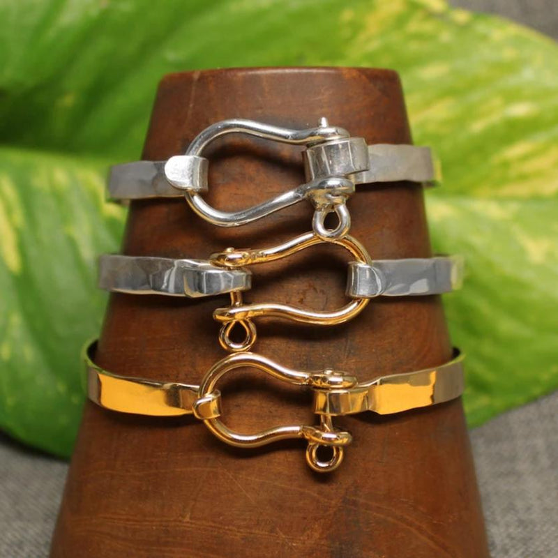 Sterling silver, 14k gold and 2-tone Sailor's Shackle 5mm latching bracelet.