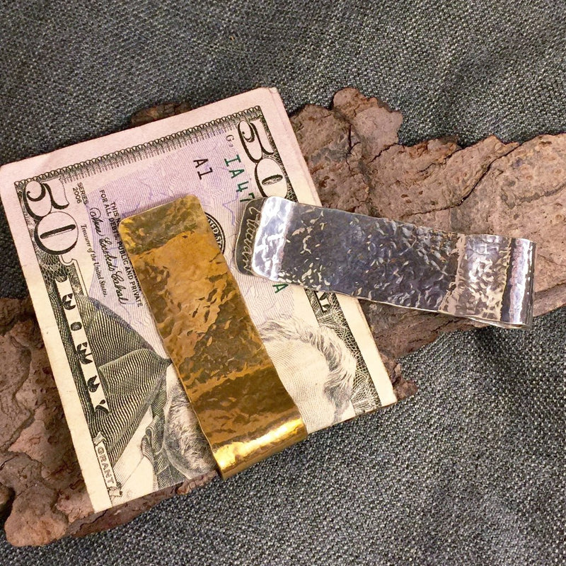 Hammered sterling silver and 14k gold wide money clips.