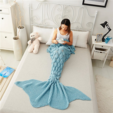 Mermaid Tail Blanket Yarn Knitted Handmade Crochet - Tea Palette