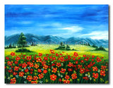 Poppie and Mountain - Painting On Canvas at INTERFRAME-ASIA