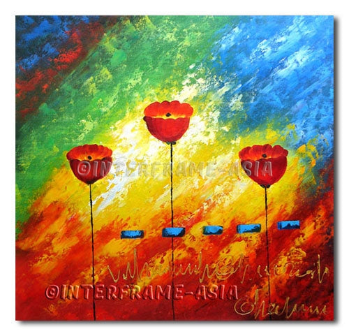 Poppies and Blue Rectangles - Painting On Canvas at INTERFRAME-ASIA