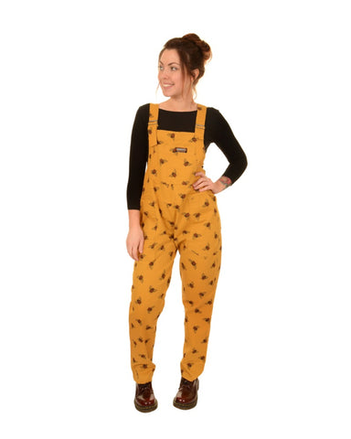 Bee Print Mustard Cotton Dungarees