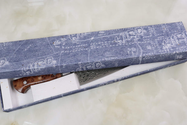 Shiki Gyuto Shiki 黒龍 Black Dragon R-2 Damascus Series Gyuto (210mm to 240mm, 2 Sizes, Thuya Burl Wood Handle)
