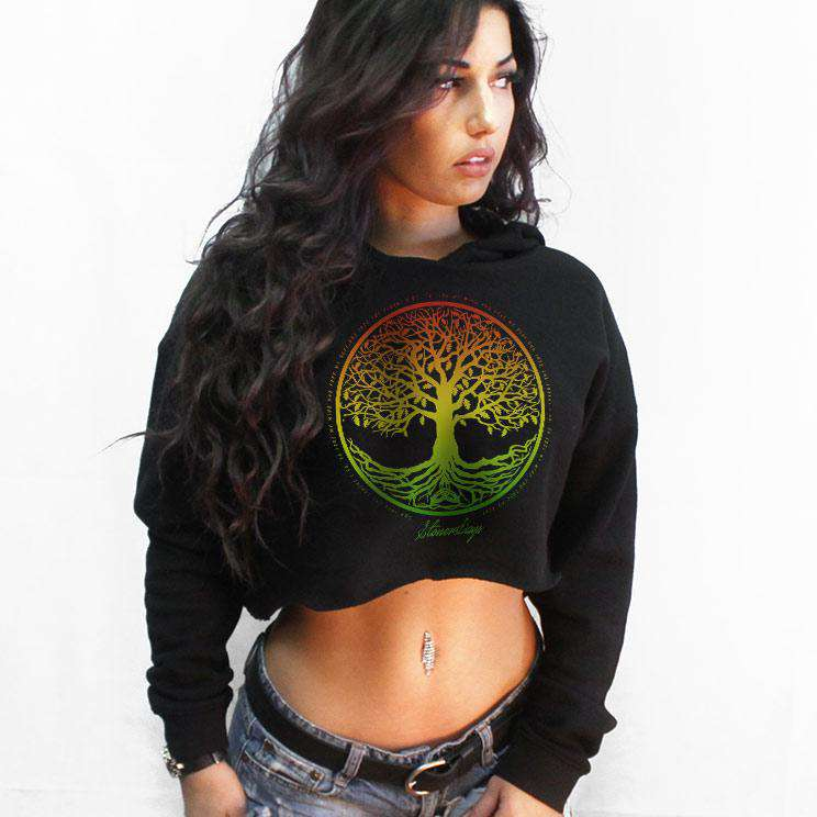 Rasta Tree of Life Crop Top Hoodie