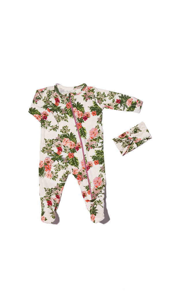 Zip Footie 2-Piece - Beige Floral