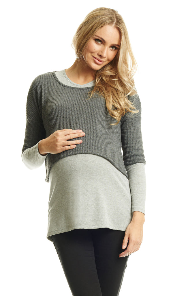 Tina 2-Piece Top Heather Grey