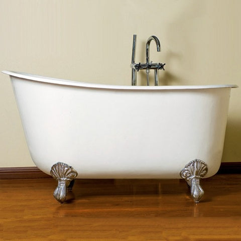 "Cambridge Plumbing Cast Iron Clawfoot Swedish Slipper Tub 54"" X 30"" w/ No Faucet - BathVault"