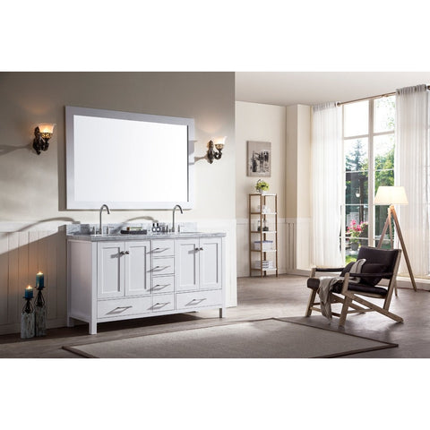 "ARIEL Cambridge 61"" Double Sink Bathroom Vanity Set A061D - BathVault"