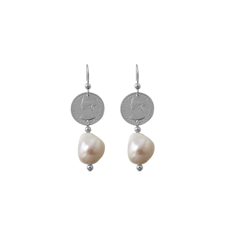 Von Treskow token and pearl earrings.