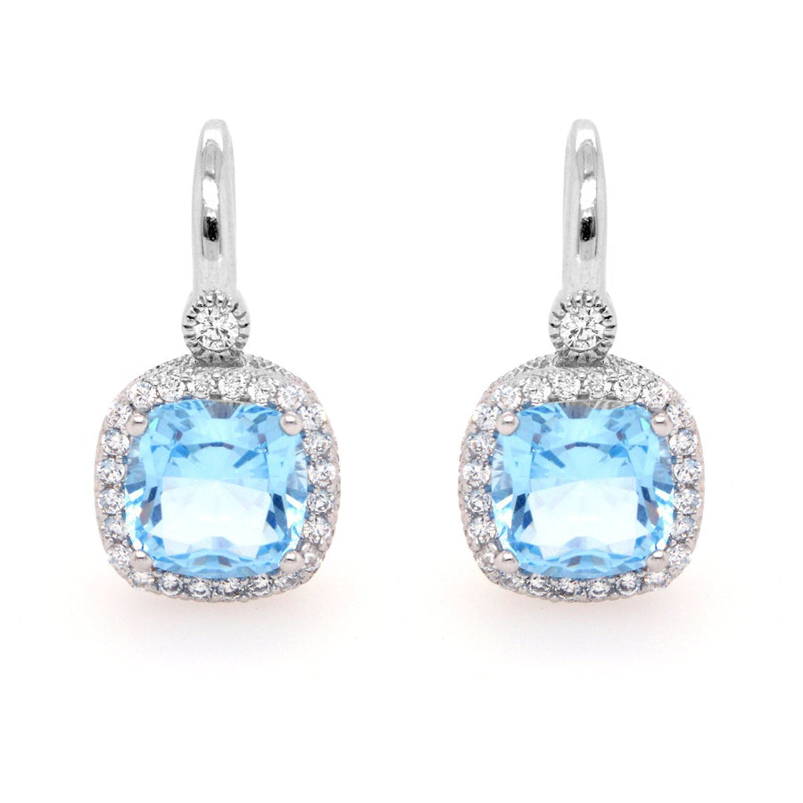 Sybella Square light blue earrings