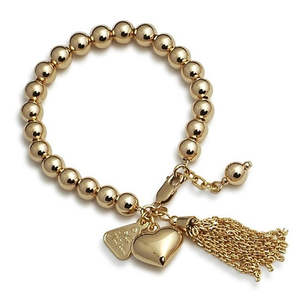 Von Treskow All Gold Heart And Tassel Charms Bracelet