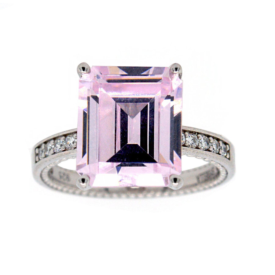 Sybella Baguette cut light pink ring
