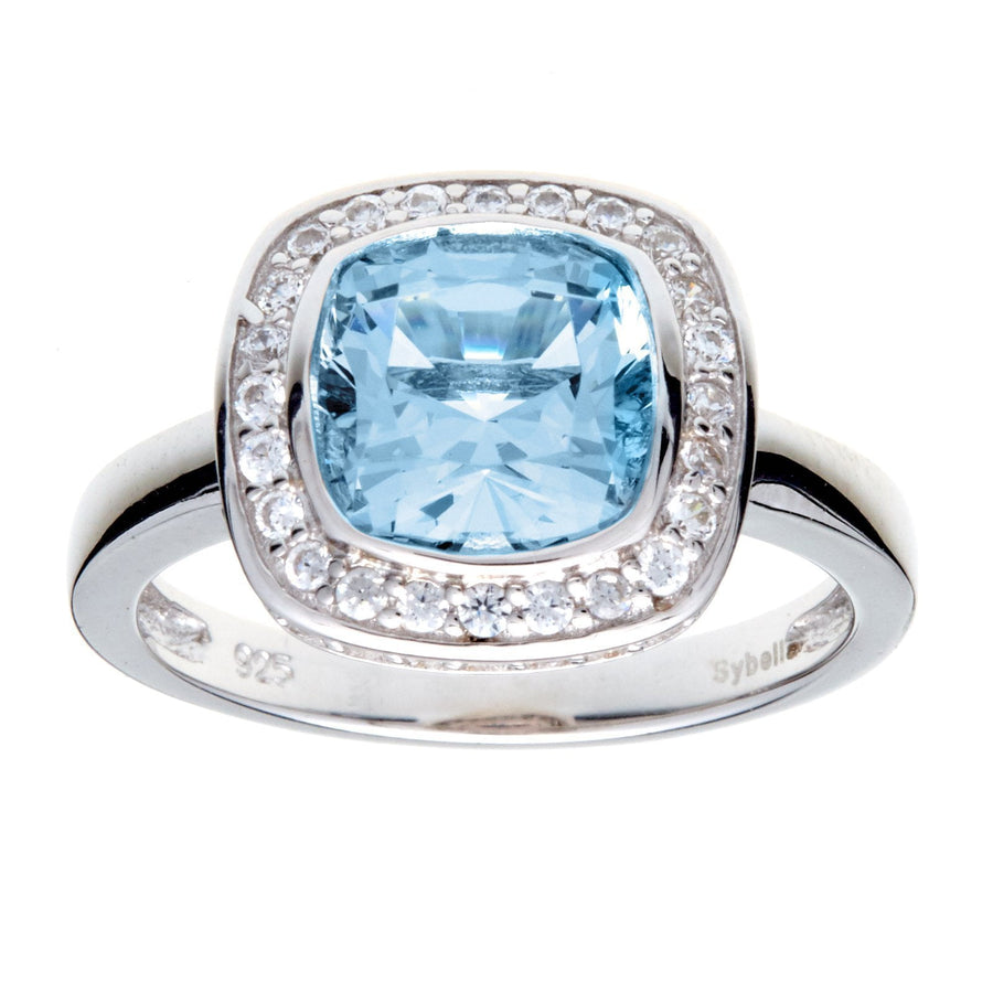 Sybella square blue ring