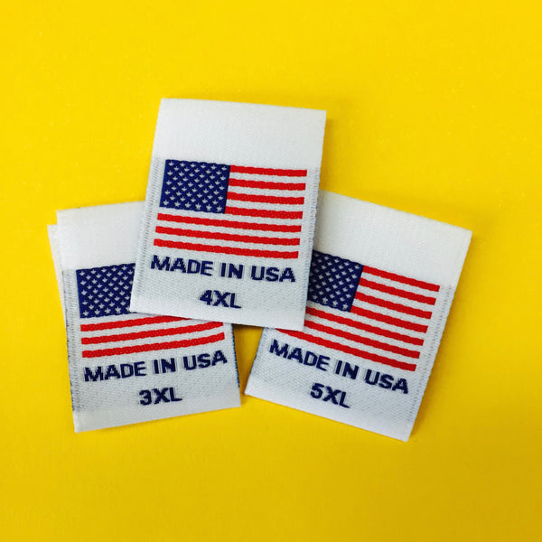 USA FLAG Clothing Size Labels (3XL-5XL)