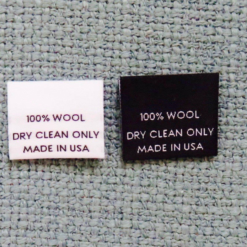 100% WOOL (MADE IN USA) - Garment Care Label