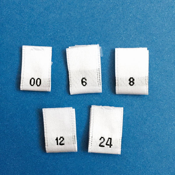Clothing Size Labels (Satin White 00 to 24)