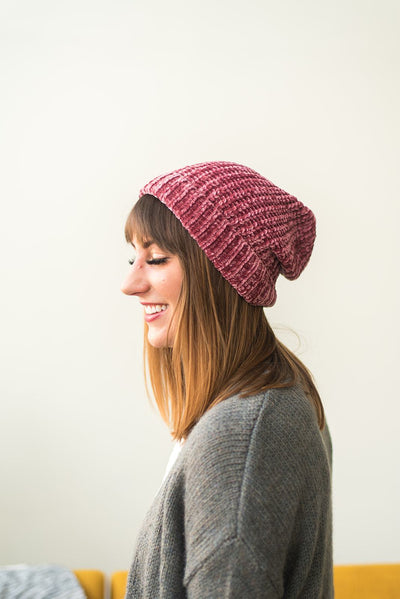 Accessorize and Shine Chenille Beanie in Pink