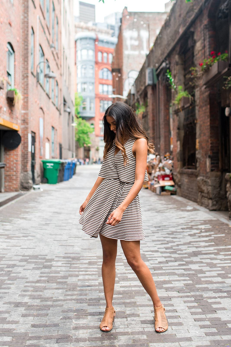 Sooner or Layer Striped Knit Wrap Dress