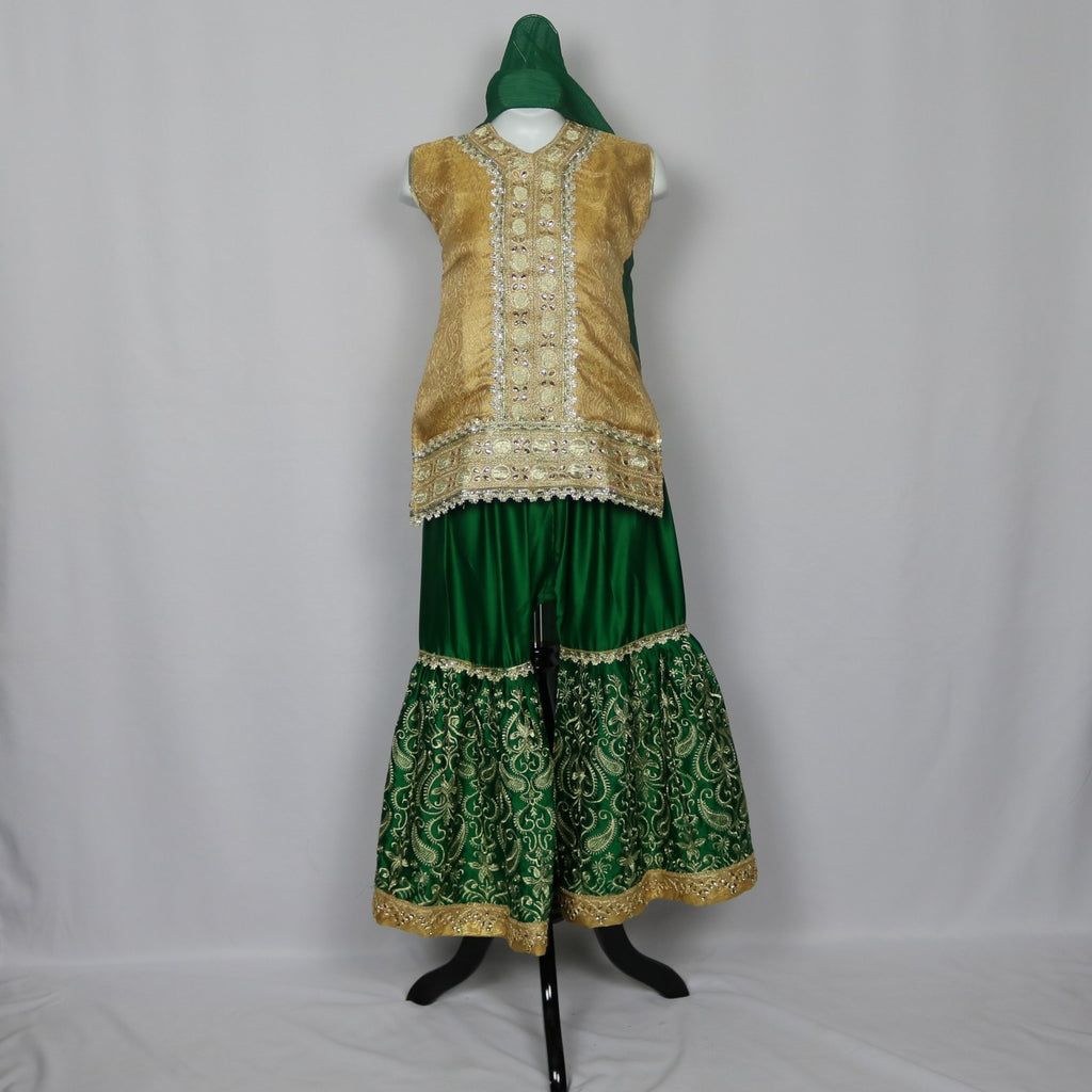 Gold & Green Gharara