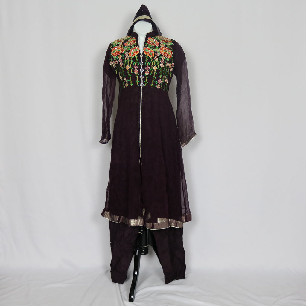 Dark Purple & Floral Shalwar Kameez