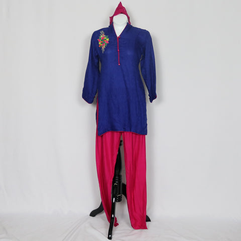 Blue & Pink Cotton Shalwar Kameez