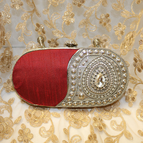 Almas Oval Diamond Beaded Clutch