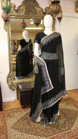 Black & Brown Sari