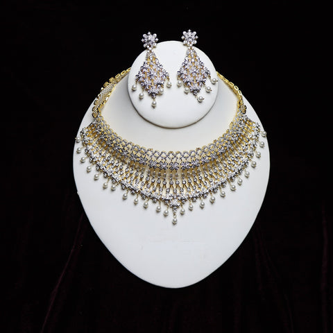 Gold Plated With White Zirconia Stone Bridal Riviera Necklace Set
