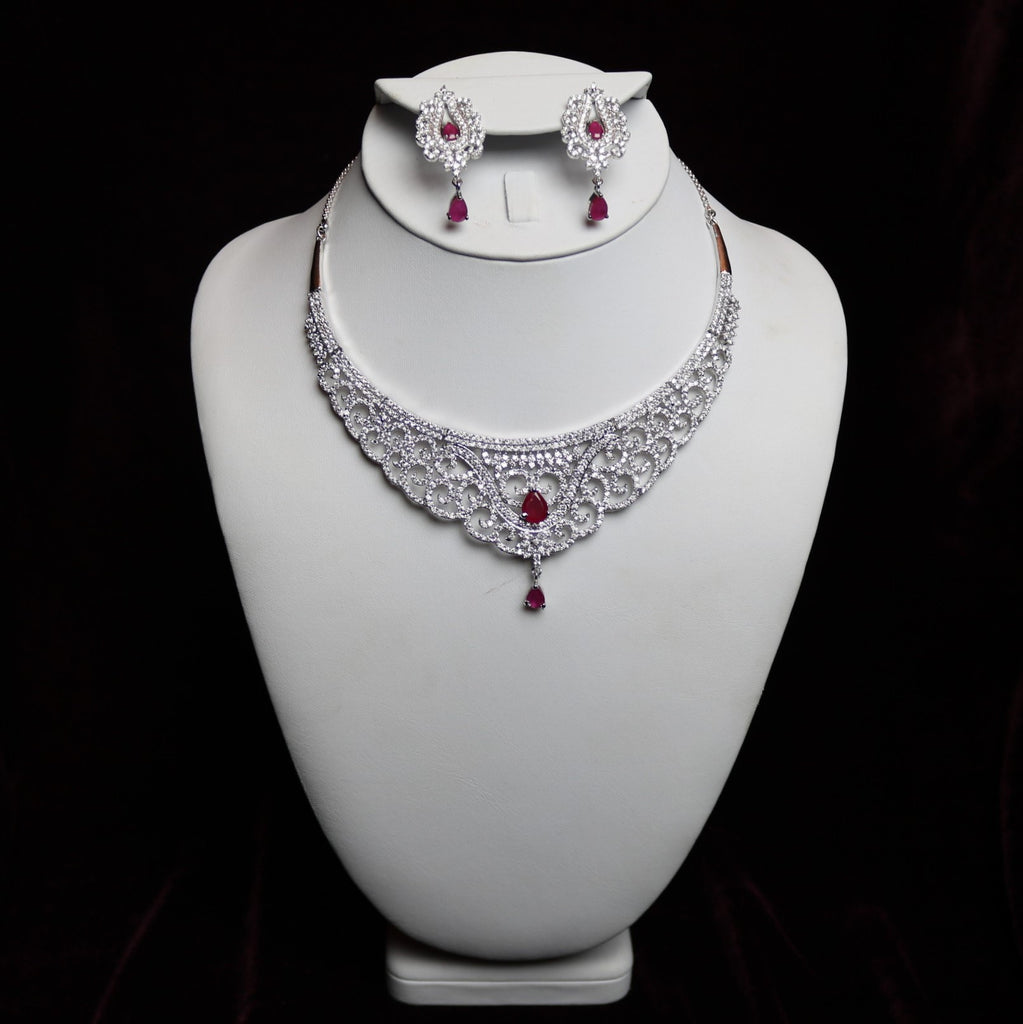 Red Stoned Zirconia Cut Riviera Necklace Set