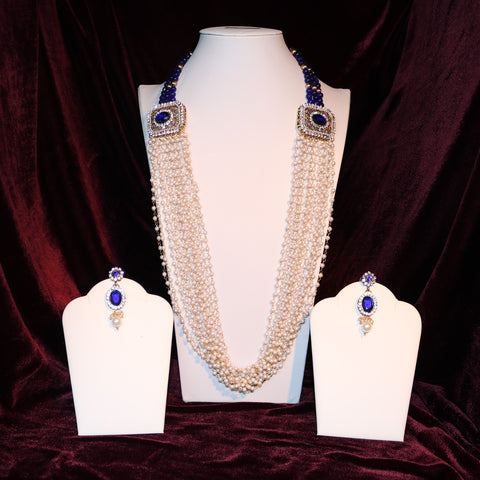 Blue & White Jeweled Mala Set