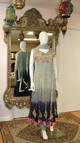 3 Shade Ombre Embroidered Long Dress