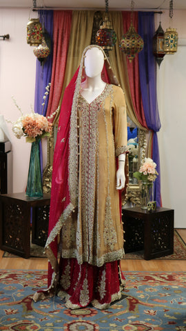 Beige and Red Bridal Lengha