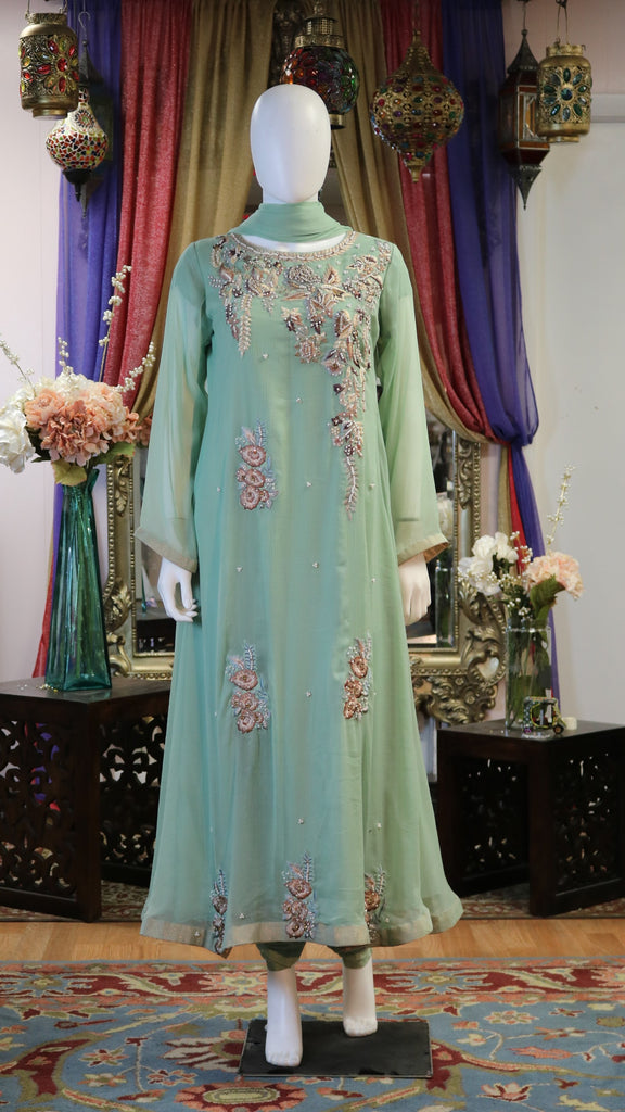 Pearl Embroidered Floral Gown