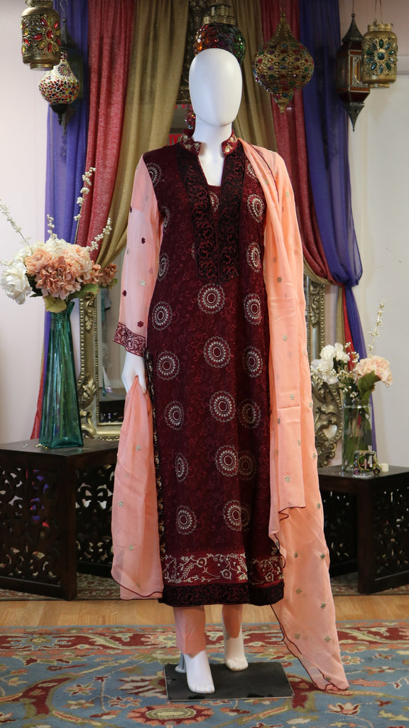 Collared Threaded Long Shalwar Kameez