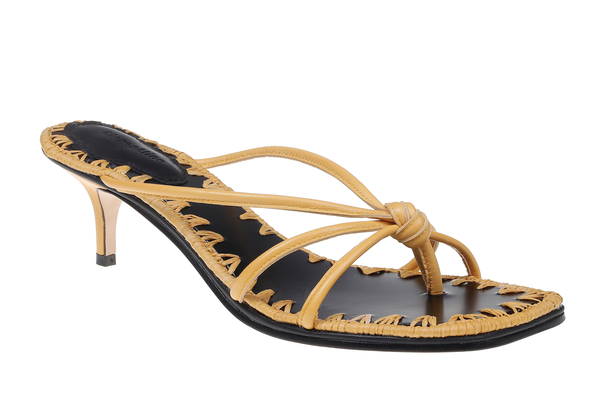 Azeline Leather Kitten Heel Sandal - Yellow