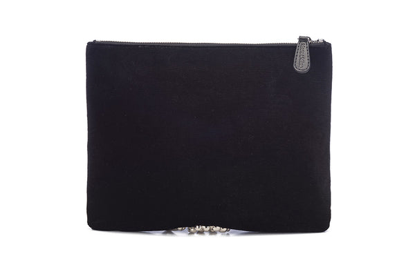 Montana Velvet Clutch in Black & Gold