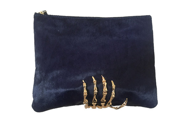 Montana Pony Hair Clutch - Navy & Gold
