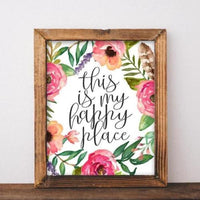 Printable Wall Art This is My Happy Place quote home decor printable quote floral printable art apartment poster printable sign art print - Gracie Lou Printables