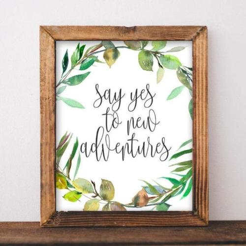 Printable Art, Say yes to new adventures, Travel print, Adventure print wanderlust printable home decor printable wall art camper printable - Gracie Lou Printables