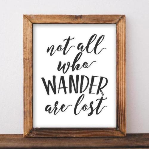 Printable Wall Art, Not all who wander are lost printable quote, black and white wall decor, quote printable home decor nursery decor - Gracie Lou Printables