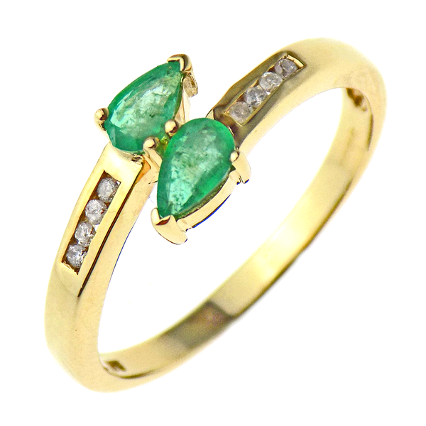 Pre-Loved 9ct Yellow Gold Pear-Shape Emerald & Diamond Crossover Ring