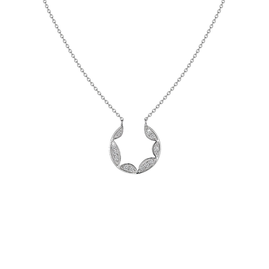 'Vixi' Sterling Silver CZ Lace Small Pendant & Chain