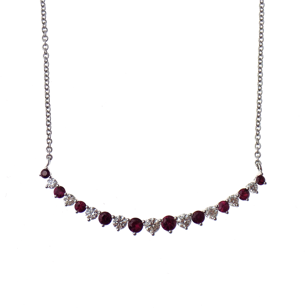 18ct White Gold Diamond And Ruby Stone Set Necklace