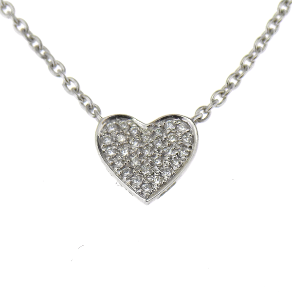 9ct White Gold 0.06ct Diamond Cluster Heart Shape Necklace