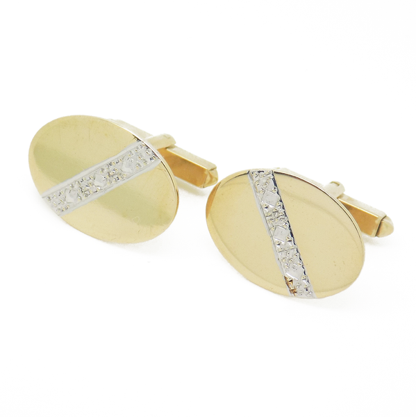 Pre-Loved Gents 9ct Yellow Gold Oval Diamond Cut Cufflinks