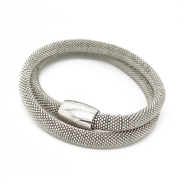 Sterling Silver Double Row Mesh Bracelet