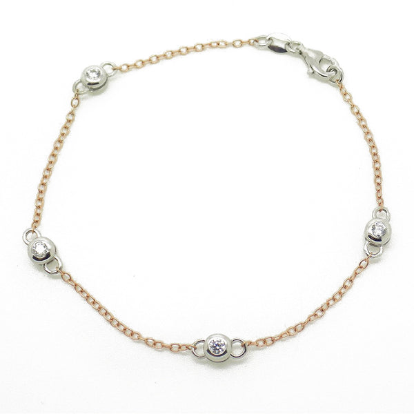 Sterling Silver, Rose Gold Plated Cubic Zirconia Chain Bracelet