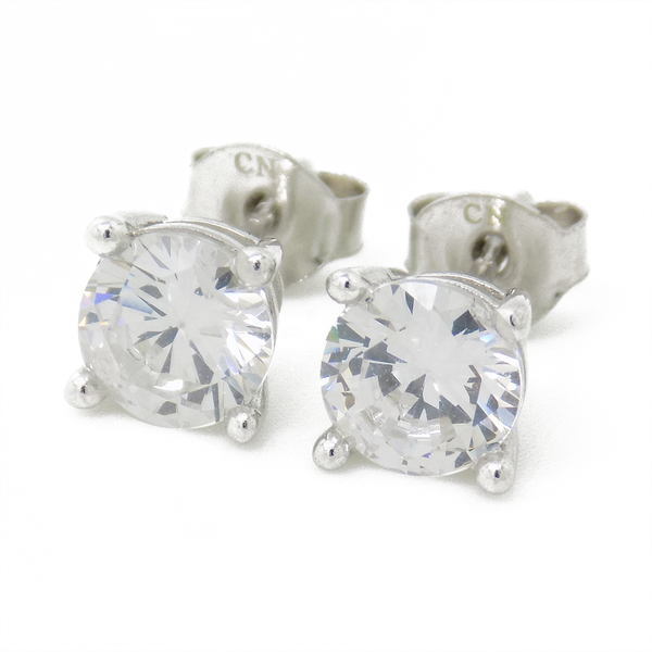 Sterling Silver 6mm Round Claw Set Cubic Zirconia Stud Earrings